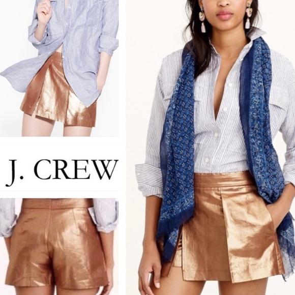 EUC J.Crew metallic copper shorts/skort